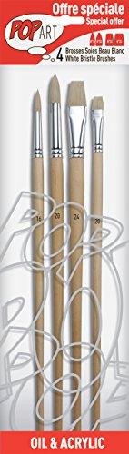 Pébéo 950850 Pochette de 4 Pinceaux Rond Soies Beau Blanc