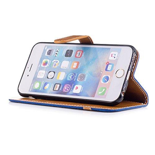 Custodia per Apple iPhone 6, ISAKEN iPhone 6S Flip Cover, 4.7 inch Custodia con Strap, Elegante Bookstyle Contrasto Collare PU Pelle Case Cover Protettiva Flip Portafoglio Custodia Protezione Caso con Marrone+blu