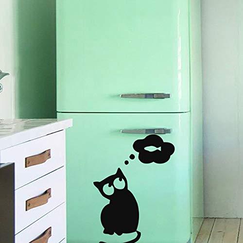 Gato pensando en pescado etiqueta de la pared del refrigerador puerta decorativa ahueca hacia fuera extraíble calcomanías de vinilo de bricolaje 83 cm x 58 cm