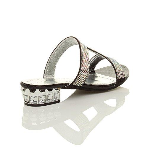 Ajvani Donna tacco basso sera strass scintillante t-bar sandali pantofole numero Nero