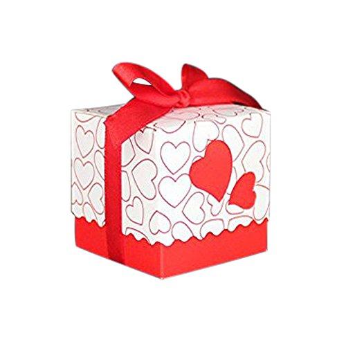 50pz bomboniere scatola cuore porta confetti segnaposto regalo con il nastro raso (rosso)