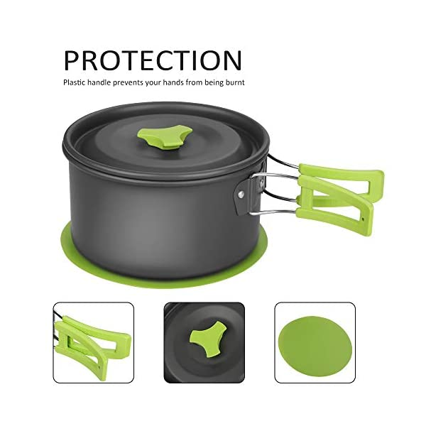 Aitsite Camping Cookware Kit Outdoor Aluminum Lightweight Camping Pot Pan Cooking Set for Camping Hiking 4