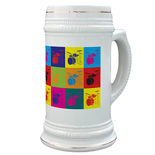 Drums Pop Art Stein - Beer Stein, 22 oz. Ceramic Drinking Mug