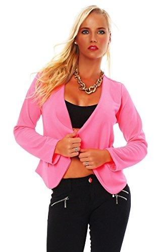 Damen Kurzjacke Blazer Jäckchen Jacke kurze Bolero-Design verfügbar in 7 Farben (34/36, NeonPink) (Pink Gogo Stiefel)