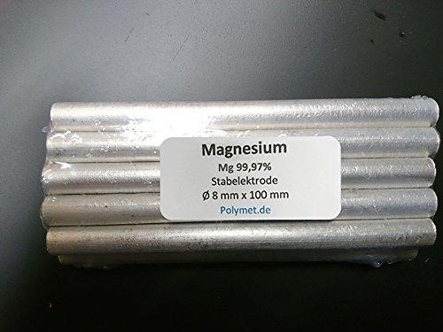 Magnesium-Elektrode 100 x 8mm, Mg rein 99,97%, Magnesiumstab, Stab Stange Anode, Reinmagnesium, Stiftanode (10)
