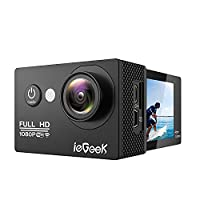 ieGeek Action Camera 1080P Wifi Waterproof Underwater Camera Sport Camera Outdoor Camcorder 12MP Full HD 170 Degree Wide View Angle 2 Inch LCD Screen With 1050mAh Battery And Mounting Accessories Kits