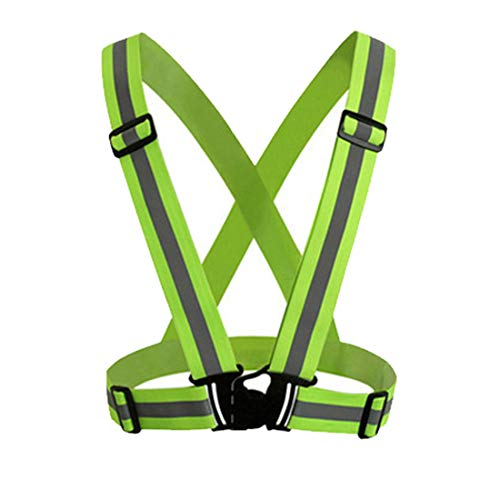 LUOSFH Sicherheits-reflektierende Weste-fluoreszierender Gürtel-Streifen-Nachtarbeits-Laufen Grün