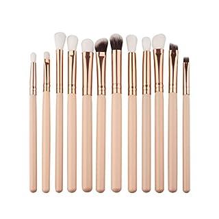 Amcool 12Pcs Professional Bürste Make-up Pinsel Set Bilden Kosmetika Lidschatten Kits(Beige)