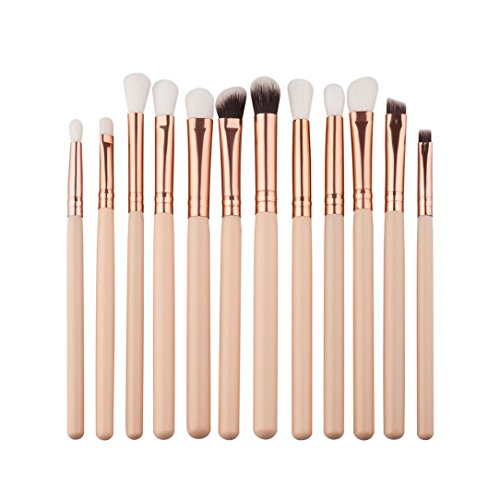 Amcool 12Pcs Professional Bürste Make-up Pinsel Set Bilden Kosmetika Lidschatten Kits(Beige)