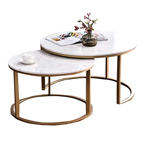 Dxjni Nordic Wrought Iron Coffee Table Set Marble Table Top