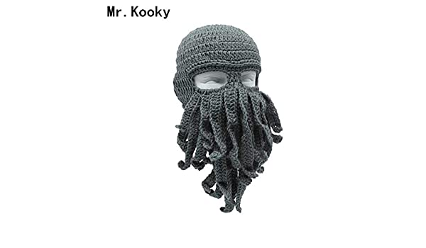 Elvy Mr.Kooky Handmade Funny Tentacle Octopus Hat Crochet Cthulhu Beard  Beanie Men s Women s Knit Wind Mask Cap Halloween Animal Gift  Amazon.in   Clothing   ... 4e8876729283