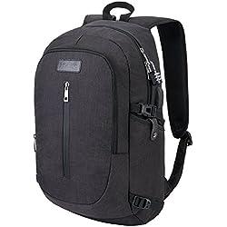 Sac à dos pour ordinateur portable, résistant à l'eau High School Student pour ordinateur, voyages d'affaires Sac à dos pour ordinateur portable avec port de chargement USB Compatible avec moins de 43,2cm Laptop-black