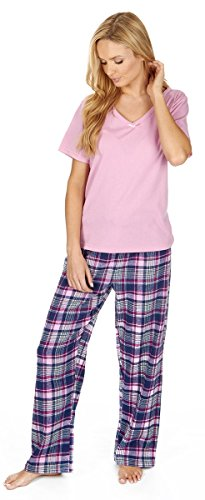 Forever Dreaming Pyjama-Set - Jersey-Top & Flanell-Hose  Gr. Small, rose (Set Flanell Pyjama Hose)