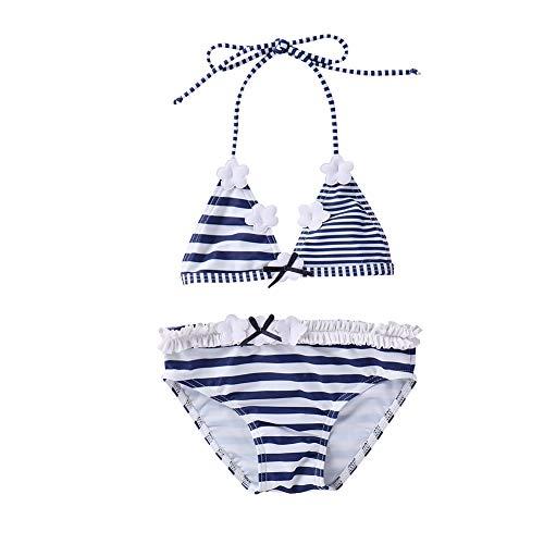 IPBEN Kleinkinder Baby Mädchen Quaste Badekleidung Schwimmanzug Bikini Sets, Gr.-110, Blaue Streifen