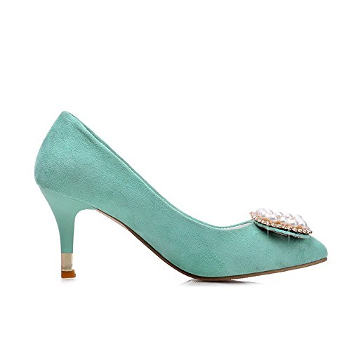 VogueZone009 Femme à Talon Correct Dépolissement Tire Pointu Chaussures Légeres Cyan