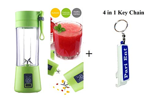 Pari Ent Portable USB Rechargeable Banana Shaker Bottle Cup Juicer Blender Machine with Upgraded Blades (Multicolour, 380 ml)