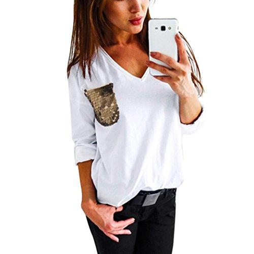 Blaues T-shirt Tasche (Elecenty Damen Solide Pullover V-Ausschnitt Bluse Tops Lose Pailletten-Tasche Blusen Sweatshirt Frauen Hemd Mantel Mode Beiläufig Pulli T-shirt Outerwear Blusentop (XL, Weiß))
