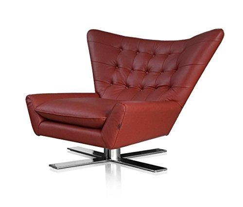 Drehbarer V Förmiger Echtleder Ohrensessel Fernsehsessel Armlehnsessel  Lounge Sessel. Abbildung In Leder Bordeaux Rot