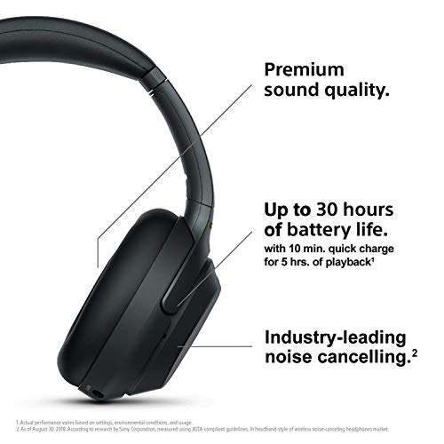 Sony WH-1000XM3 Wireless Industry Leading Noise Cancellation Headphones with Alexa (Black) Image 2