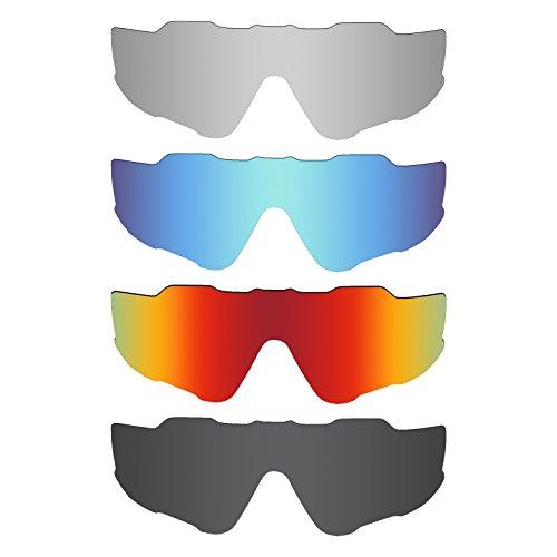 4c9665d676 MRY 4 Pares polarizadas Lentes de Repuesto para Oakley Jawbreaker  Sunglasses-Stealth Negro/Fuego