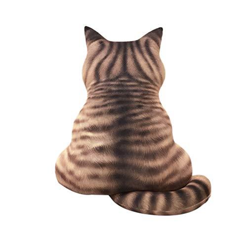 Goolsky 3D Cartoon Katze Zurück Form Kissen Weichem Plüsch Spielzeug Tier Meditation Kissen Wohnzimmer Sofa Dekoration(51cm)