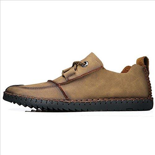 Hommes Casual Mens chaussures en cuir occasionnels chaussures de sport en plein air chaussures de randonnée chaussures de conduite de confort ( Color : Khaki-43 ) Black-38