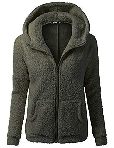 Jacke Dicker Warm Bequem Slim Parka Mantel Lässig Mode Frauen Mit Kapuze Pullover Wolle Reißverschluss Baumwollmantel Outwear(Armeegrün, S) ()