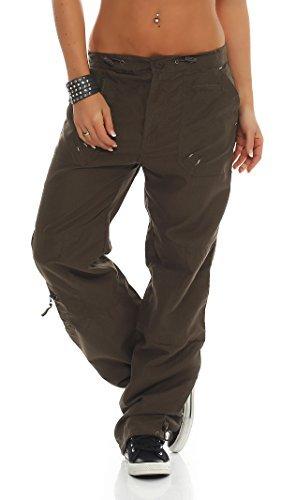 SUCCESS Damen Cargo Hose Casual Wear Chino Stoff Hose 5 Pocket Regular Fit Freizeithose 02 ( XXL(DE 42), armee) (2-pocket-hose)