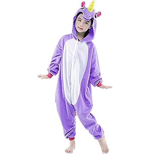 Einhorn Einteiler Kind Kinder Tier Pyjama Outfit Halloween-Kostüm S (Musik Kostüme Dress Fancy)