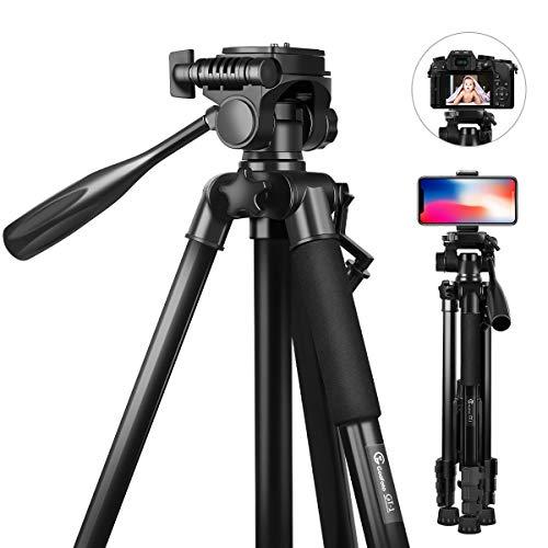 Trípode Movil, GooFoto 148cm Trípode Camara Reflex Liviano de Aluminio de con Soporte para Teléfono Compatible para Cámara Digital SLR Canon Nikon Sony
