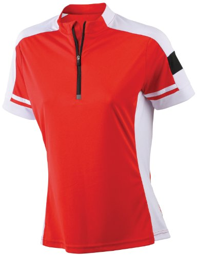 James & Nicholson Damen Sport T-Shirt Radtrikots Bike-T-Half Zip rot (red) Medium