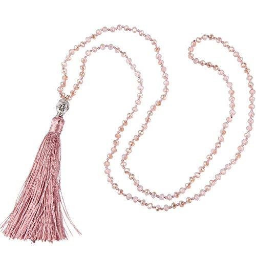 KELITCH Tasselkette Kristall Perlen Damen Lange Kette mit Buddha-Kopf Quaste Anhänger - Rose Rosa