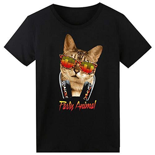 Katze Shirt Kostüm T - Led Equalizer Tshirt Sound Aktiviertes,Party Hiphop Cosplay Disco DJ Leucht T Shirt Katze