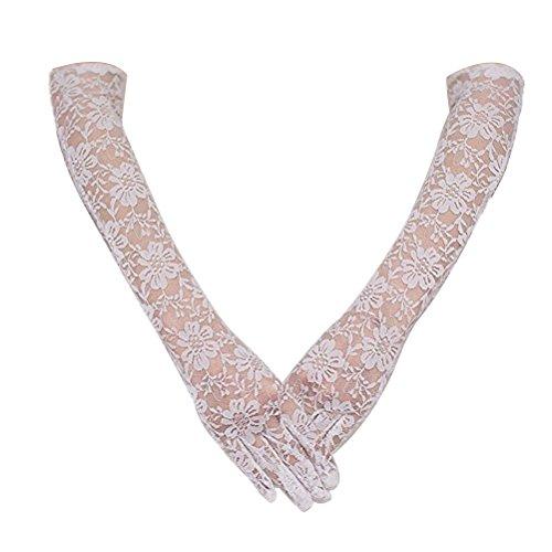 LUOEM Langen Spitzen Handschuhe Hochzeit Handschuhe für die Braut-Abend-Party (weiß) (Süßes Paar Kostüme Einfach)
