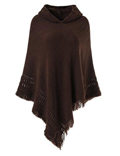 Ferand Damen Kapuzen Poncho mit Häkelborde, Cape für Frauen aus Strickmaterial mit Zierfransen, braun -