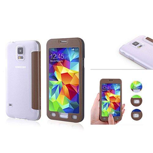 Alienwork custodia per samsung galaxy s5 touchscreen cover case ultra-sottile ecopelle rosolare si9600g-02