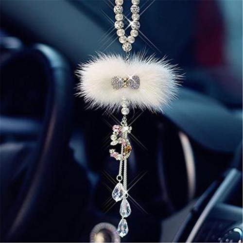 Zubehör für Mädchen Diamant Krawatte Anhänger im Auto Rückspiegel Luxus Glas Ornament Auto Innendekoration ()