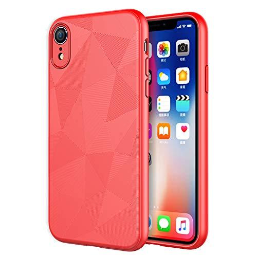 Schutzhülle für iPhone XR, Flexibles TPU Slim Scrub Cover [Water Cube Textur] [Unterstützt Wireless Charging] Anti-Fall Soft Case für iPhone XR 6.1 Zoll (2018), rot -