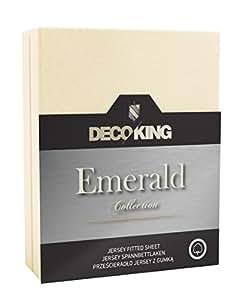 DecoKing 18453Wasserbett Spannbettlaken 120 x 200 - 140 x  200 cm Jersey Baumwolle Spannbetttuch Emerald Collection, creme