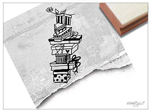 Stempel - Motivstempel Geschenke -Turm, groß - Bildstempel Geschenk Zum Geburtstag, Kita Schule Beruf, Karten Basteln Deko - von zAcheR-fineT