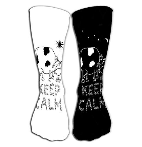 "Xunulyn Hohe Socken Outdoor Sports Men Women High Socks Stocking Keep Calm Funny White Black Print Designs Mug Print Template Mug Print Template Keep Calm Funny Tile Length 19.7""(50cm)"