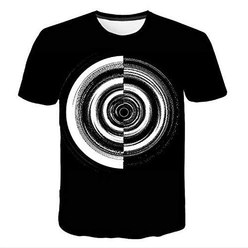 hirts für den Sommer Vintage Biker Tops für Motorrad und Urlaub Casual Neuheit Cool Travel T-Shirt mit kurzen Ärmeln,Runder geometrischer 3D-Druck schwarz-BM ()