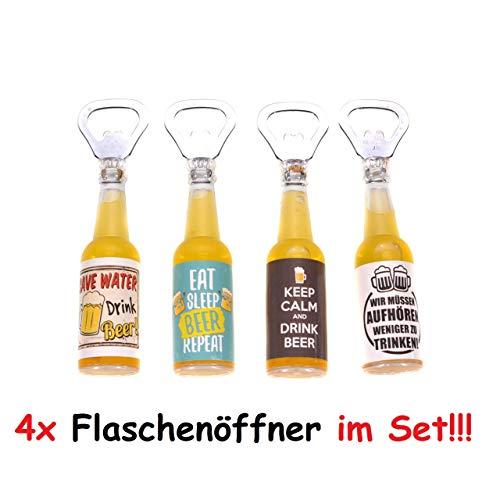 TT 4X Flaschenöffner Magnet Kapselheber mit Spruch Öffner Bieröffner Bierflasche