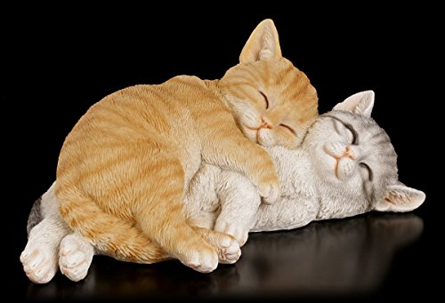 Süße Kuschelnde Katzen Gartenfigur | Garten Figur Deko Statue