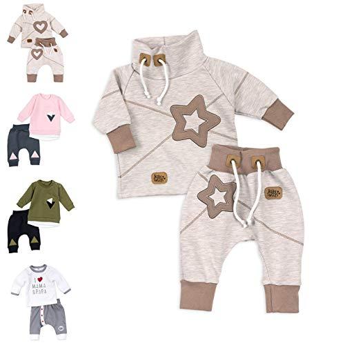 Koala Baby Set Hose und Shirt Unisex beige braun | Motiv: Star | Baby Outfit mit Sternen-Applikationen für Neugeborene & Kleinkinder | Größe: 3 Monate (62)......