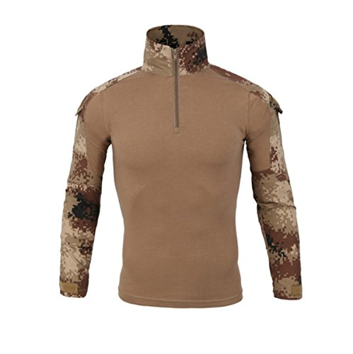 Hombres Airsoft Militar Táctico Camisa Largo Manga Camuflaje Combate BDU Camo Camisetas con Cremallera Desierto Large