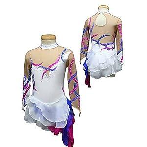 Eiskunstlauf-Kleid Für Mädchen Frauen Eislaufen Wettbewerb Performance Crystals Spandex Stripes DREI Schichten Handmade Long Sleeves Skating Wear