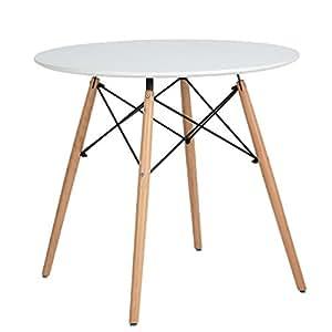Cuisine Table à manger Coavas Modern Round Leisure Café en bois Tea Office Conference Table, White