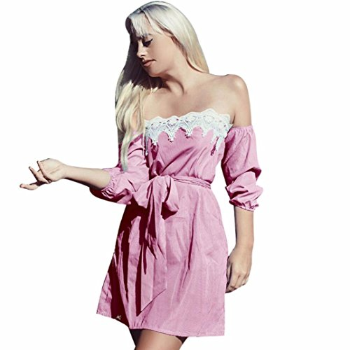 DOLDOA Frauen Streifen Spitze aus Schulter halbes Ärmel Top Bluse Maxi Kleid mit Gürtel (EU: 34-42, Rosa) (Rib Cap Rosa)