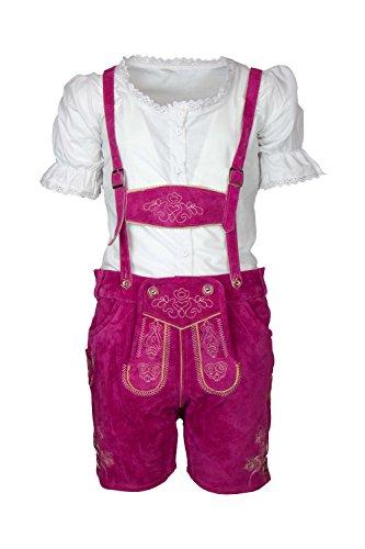 MS-Trachten Trachtenset Mädchen Kurze Lederhose Antonia mit Bluse (140)